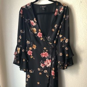 Forever 21, Black wrapped dress with flowers